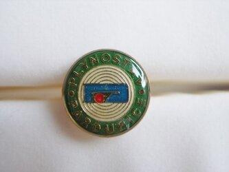 Vintageパーツのリング(緑・丸の画像