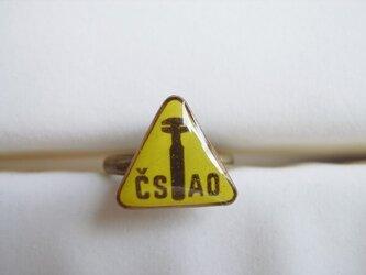 Vintageパーツのリング(工具・三角黄の画像