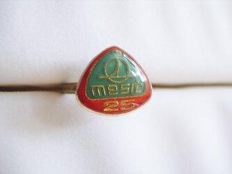 Vintageパーツのリング(25三角・橙の画像
