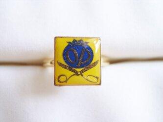 Vintageパーツのリング(ハサミ・黄の画像