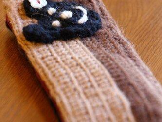 手編みペンケース(くま)の画像