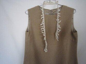 もみの木のかぎ針編みネックレス(オフホワイト)の画像