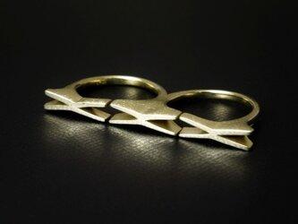 K18YG ダブルフィンガー LOVE Ring『KISS KISS KISS』の画像