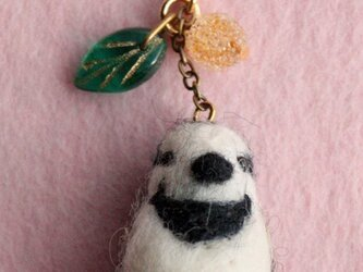 羊毛フェルト 野鳥チャーム(ハクセキレイ)の画像