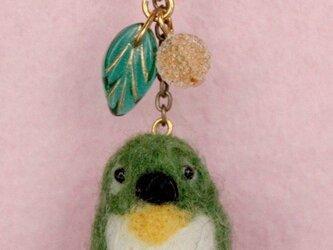 羊毛フェルト 野鳥チャーム(メジロ)の画像