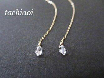[再販]ハーキマーダイヤモンドのロングピアス14KGFの画像