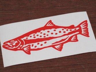 切り絵ステッカー レインボートラウト(赤)の画像