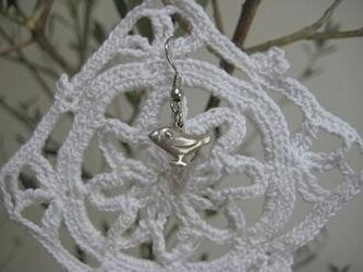 文鳥ピアス(白)silverの画像