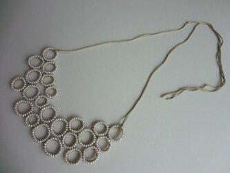 淡水真珠 リング編みネックレスの画像