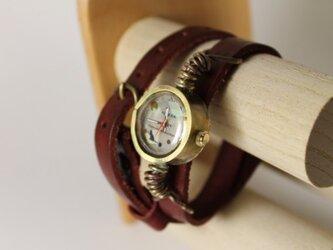 ねこのよる散歩【手作り腕時計】の画像