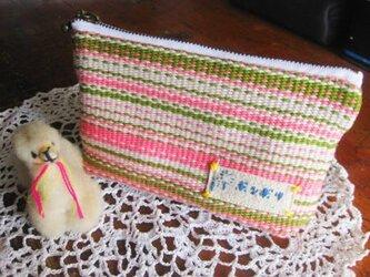 手織りポーチ(ピンク)の画像