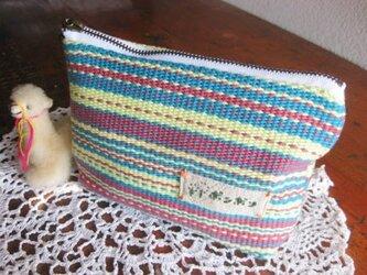 手織りポーチ(青)の画像