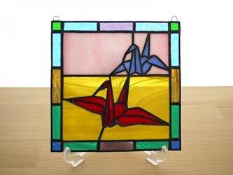 ステンドグラス ミニパネル 折り鶴 15cmの画像