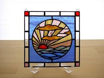 ステンドグラス ミニパネル 日の出 15cmの画像