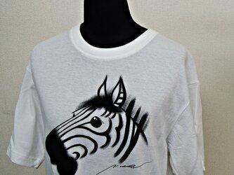 西陣手描きTシャツ◇シマウマの画像