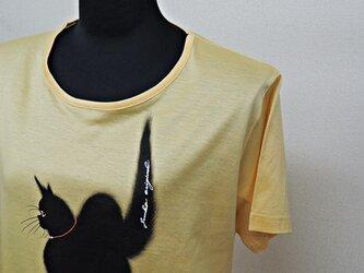 西陣手描きTシャツ◇黒猫の画像
