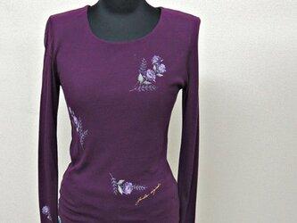 西陣手描き七分袖Tシャツ◇紫の画像