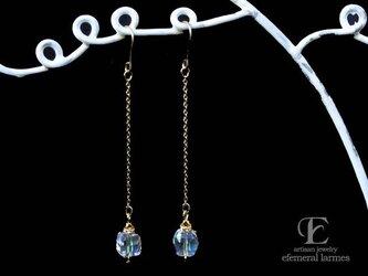 ジャパンヴィンテージガラスのロングシャボン玉カラーピアスの画像