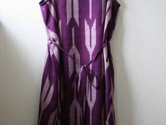 絹 紫 矢絣 ノースリーブワンピース Mサイズの画像