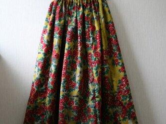 絹 黄色 椿 ギャザーゴムスカート Fサイズ の画像