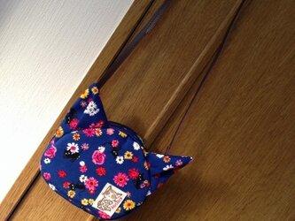 まのちゃんポシェット〈花柄・ブルー〉の画像