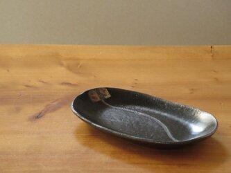 伊豆土のハナのオーバルプレート(黒釉)の画像