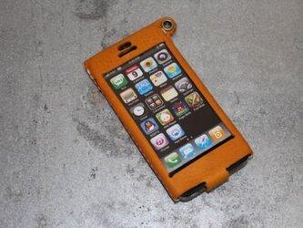 Iphone5用レザーケース キイロの画像