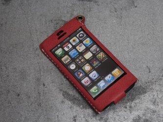 Iphone5用レザーケース ピンクの画像