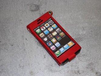 Iphone5用レザーケース アカの画像