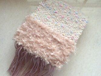 パステルの手織りマフラー☆ピンクの画像