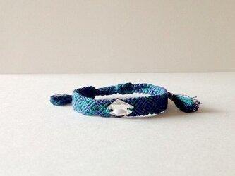 スワロ付ミサンガ(ブルー×グリーン)の画像
