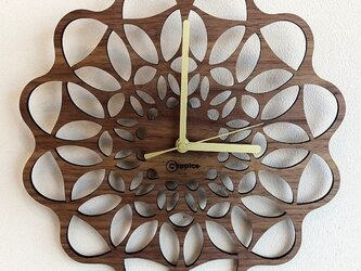 壁掛時計 FLOWER (ウォールナット)の画像