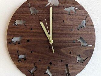 壁掛時計 CAT(ウォールナット)の画像
