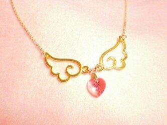 天使が金色の羽根をくれたスワロフスキーローズネックレス☆の画像