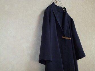 【ご注文受付】リネン 紺 ゆったりロングカーディガンの画像