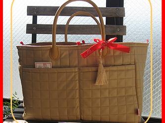 お片づけトートバッグ-キルトベージュ(受注製作)の画像