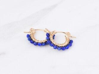 [PE] Lapis lazuli《S》Basic Hoop Pierced Earringの画像