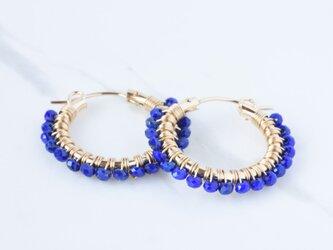 [PE] Lapis lazuli《M》Basic Hoop Pierced Earringの画像