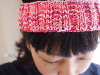 段染め綿の太めヘアバンド【ピンク系】の画像