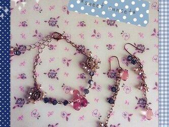 *pink&grey* ブレスレット+ピアスの画像