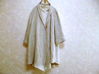 【ご注文受付】リネン100 ゆったりロングカーディガン 春夏 羽織 変形裾の画像