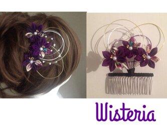 つまみ細工・コームかんざし 和紫の画像