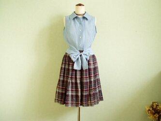 sold 水色ローンウエスト結びブラウス&タックギャザースカートの画像