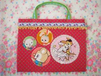 昭和レトロ レッスンバッグ ピンクの画像