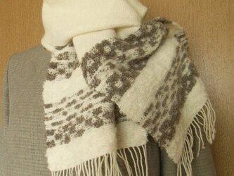 手織アルパカウールマフラーモコモコの画像