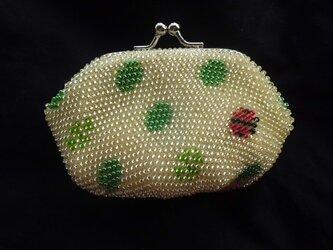 <再出品>ビーズ編みがま口財布 ドットとてんとう虫柄 黄色の画像