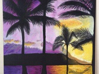 チョークアート 夕景の画像