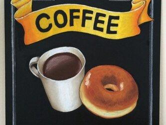 チョークアート 珈琲とドーナツの画像