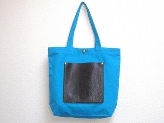 Lポケット・トート ブルー+焦茶クラックレザーの画像