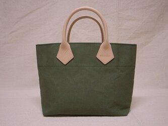 ヌメ革ハンドルミニトートバッグ(ワサビ色)の画像